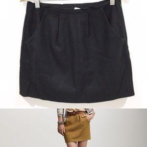 J. Crew black Felted wool mini skirt Sz 2